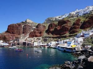 Santorini het haventje van Ammoudi