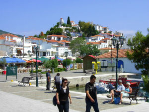 Skiathos stad de boulevard