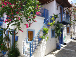 Skiathos stad het oude gedeelte