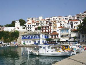 Skopelos stad het haventje