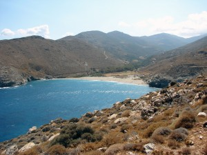 Het fraaie Achla beach op Andros
