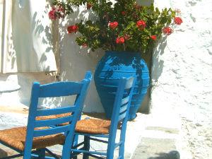 Terrasje op Patmos Griekenland
