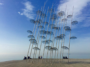 Umbrellas kunstwerk in Thessaloniki