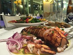 Vis in restaurant Gialos in Thessaloniki
