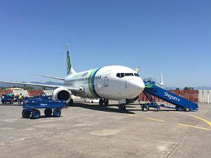 Vliegtickets Griekenland Transavia toestel op Kalamata airport