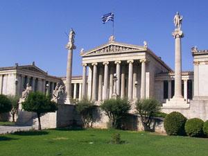 De fraaie universiteit van Athene.