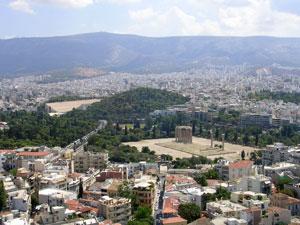 Athene de stad en Theseion tempel.
