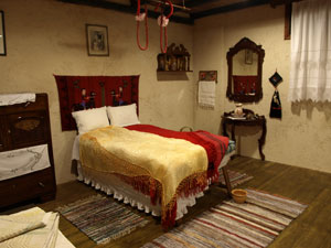 Griekse traditionele slaapkamer.