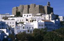 Patmos vakantie stad met kastro