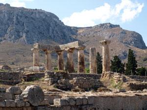 Ancient Korinthe de tempel op de Peloponnesos