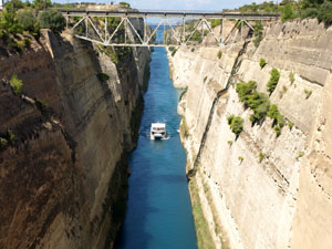 Het kanaal van Korinthe op de Peloponnesos.