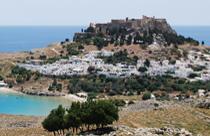 Rhodos vakantie Lindos uitzicht akropolis