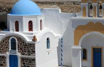 Santorini vakantie rotskerk Griekenland