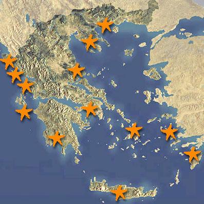 Duikspots en snorkelplekken Griekenland op kaart