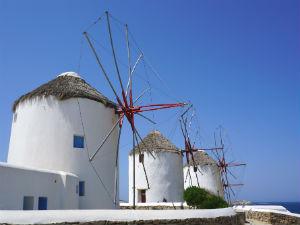 Mykonos-stad Kato Mili windmolens