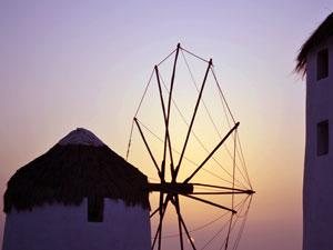 Zonsondergang bij molentjes Chora