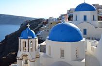Santorini Oia blauwe koepelkerkjes