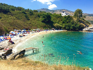 Baai bij Kassiopi op Corfu