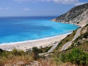 Uitzicht op Myrtos beach op Kefalonia