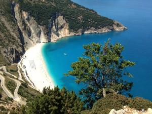 Panorama uitzicht Myrtos beach