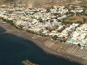 Kamari op Santorini luchtfoto