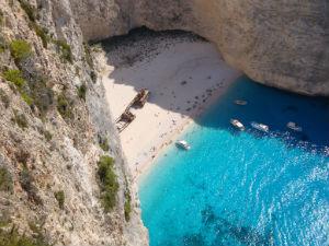 Shipwreck beach van boven af Zakynthos