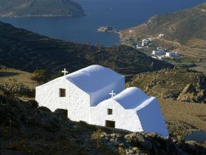 Astypalea kerkjes wit en uitzicht