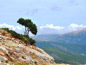Uitzicht van de Roudi berg in Ainos National Park