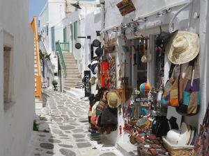 Winkelstraatje in Naoussa op Paros