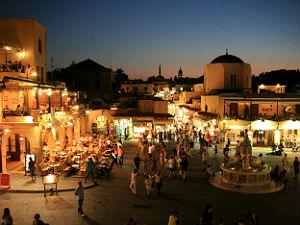 Plaka plein in oude gedeelte Rhos stad