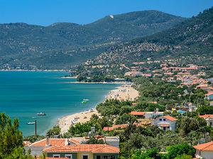 Uitzicht Votsalakia op Samos Griekenland