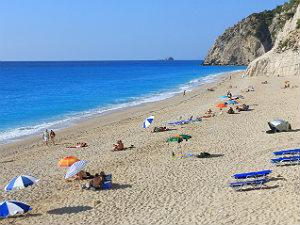Egremni beach het strand op Lefkas