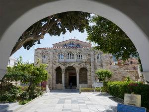 Parikia op Paros de Panagia Ekatontapiliani kerk