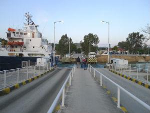 Brug omlaag voor boot Kanaal van Korinthe