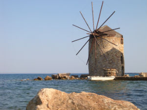 Windmolens in Chios stad