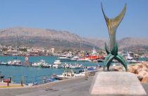 Chios stad standbeeld en haven
