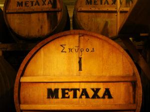 Metaxa eiken houten vaten in de fabriek
