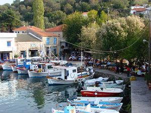 Haventje van Skala Sikaminea op Lesbos