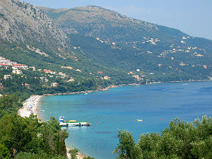 Agios Gordios baai op Corfu
