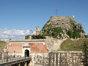 Oude Fort in Kerkyra Corfu vooraanzicht