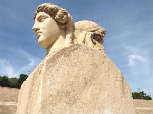 Beelden in het Panathinaiko Stadion Athene