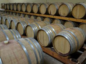 Wijnvaten in de wijnkelder van Lykos winery Evia