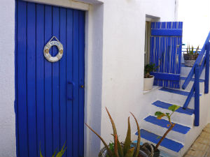 Koutouloufari vakantie op Kreta blauw en wit