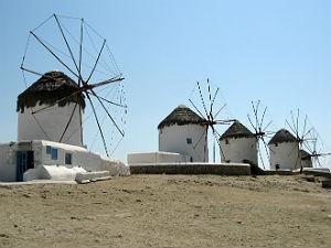 Griekse terrassen op Mykonos