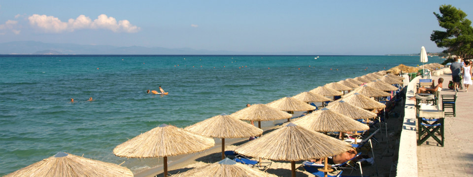 Strand van Hanioti op Kassandra Chalkidiki