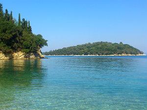 Het Ionische eiland Skorpios