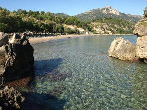 Porto Zoro beach vanaf de rotsen