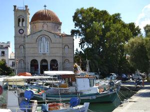 Haven van Aegina-stad Griekenland