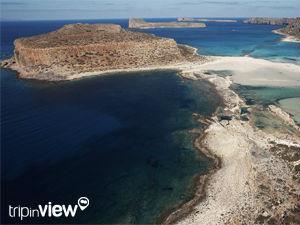Griekse vakantiebestemmingen online vanuit helikopter Balos beach
