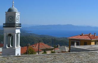 Milies op Pilion uitzicht tijdens vakantie